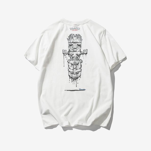 569287382559_白色 2018夏季新款神秘图腾印花短袖男士T恤