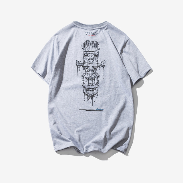 569287382559_灰色 2018夏季新款神秘图腾印花短袖男士T恤