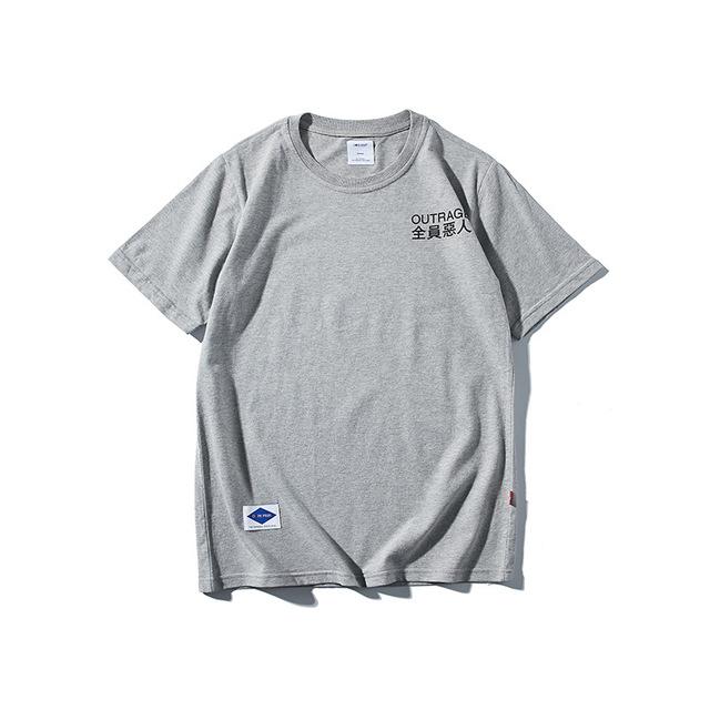 569039959681_灰色 2018原创夏装新款简约字母印花短袖T恤