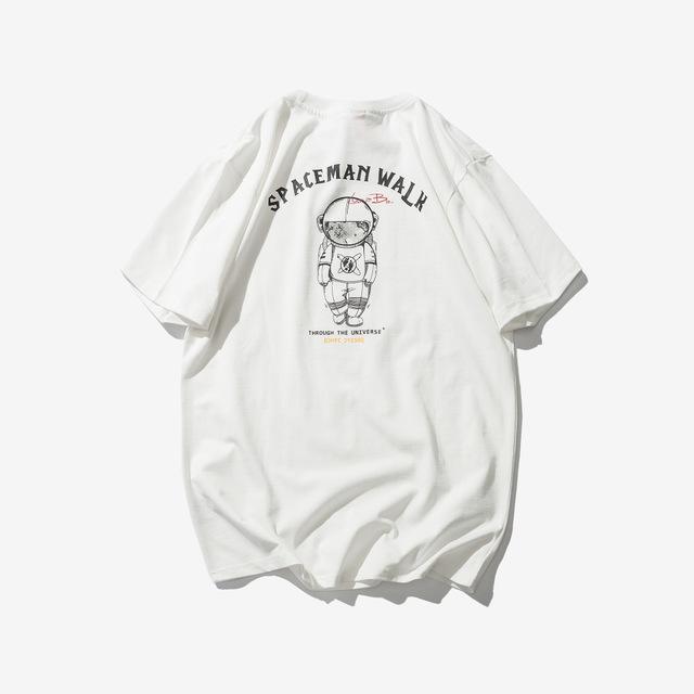 569010072819_白色 2018原创短袖T恤男日系潮牌太空人印花学生宽松圆领宽
