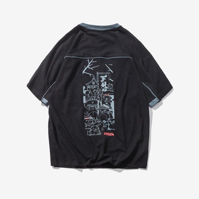 566897833406_黑色 夏季新款日系复古印花短袖男士T恤