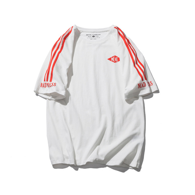 567401189801_白条纹 日系街头简约纯色线条条纹字母印花圆领短袖T恤