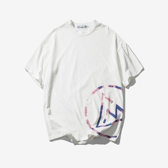 570148683974_白色 日系复古简约字母印花休闲T恤青年圆领宽