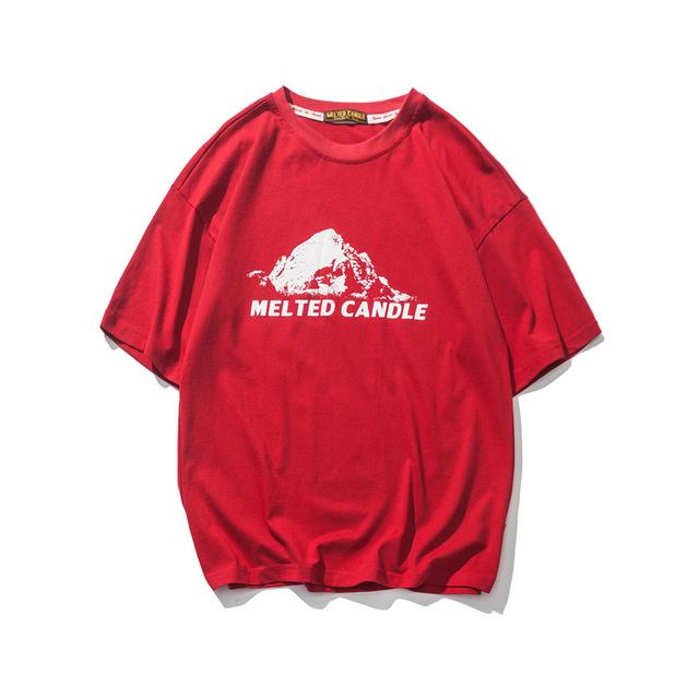569836028896_红色 夏季新款复古印花圆领短袖T恤