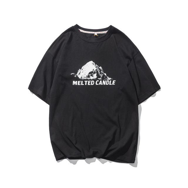 569836028896_黑色 夏季新款复古印花圆领短袖T恤
