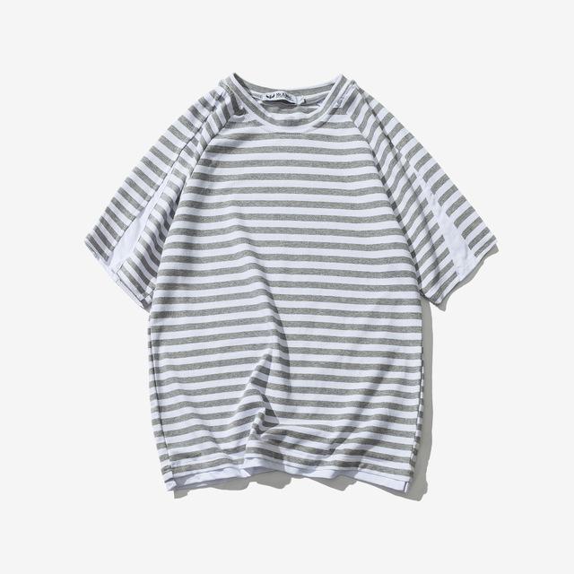 567066855584_灰色 日系复古短袖男T恤潮男夏季圆领宽松T恤