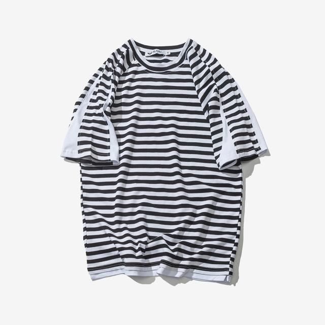 567066855584_黑色 日系复古短袖男T恤潮男夏季圆领宽松T恤