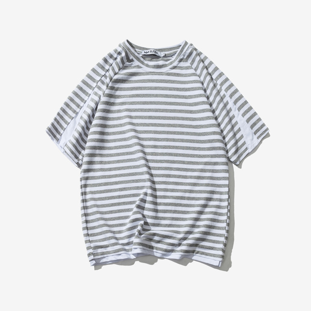 567066855584_蓝色 日系复古短袖男T恤潮男夏季圆领宽松T恤