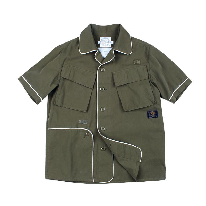 572930279920_军绿色 ANB2018SS/ GOODJOB睡衣风M1942短袖衬衫军绿色