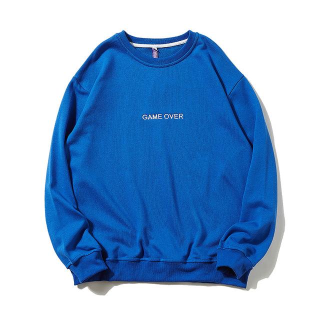 576871883248_蓝色 圆领套头宽松潮流帅气运动时尚字母刺绣卫衣