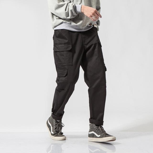576855931303_黑色 日系潮牌直筒复古宽松多口袋工装裤