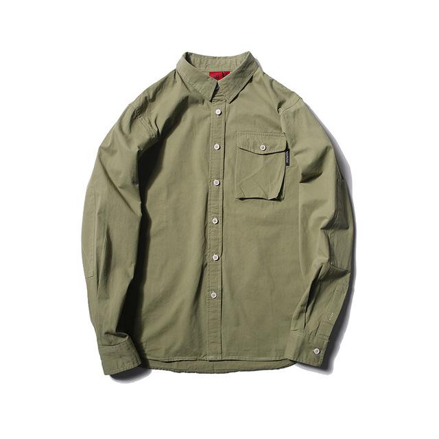 573694349573_绿色 秋季新款日系复古翻领衬衣外套潮男 大口袋工装衬衫青
