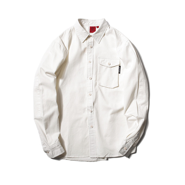 573694349573_白色 秋季新款日系复古翻领衬衣外套潮男 大口袋工装衬衫青