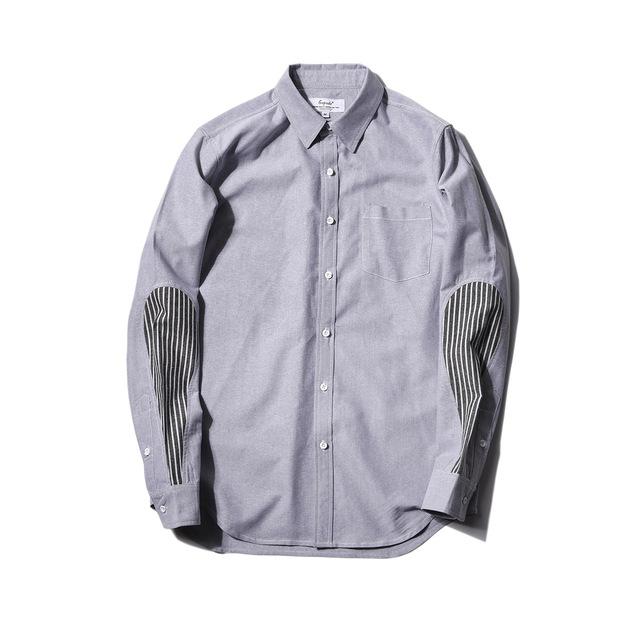 566148055855_灰色 2018春季新款条纹拼接修身衬衫男 日系原创青年男式尖