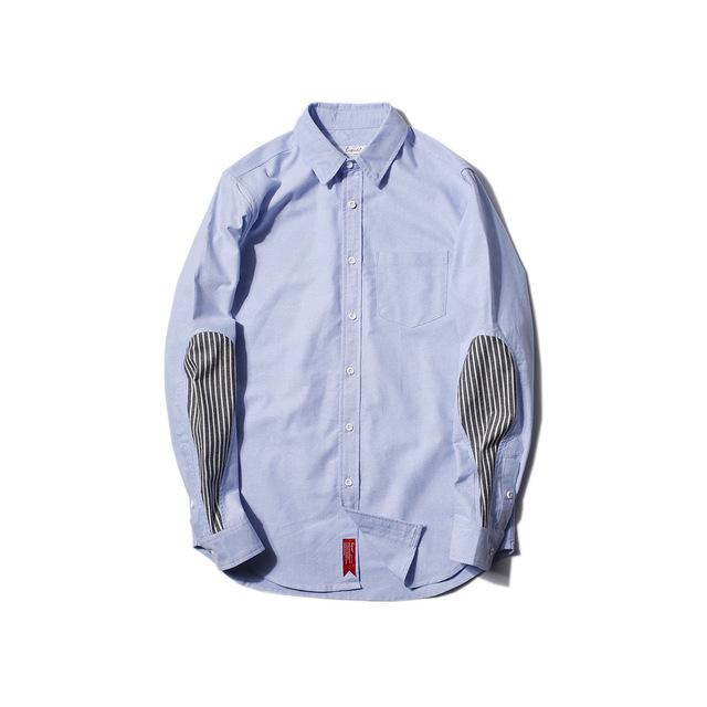 566148055855_天蓝色 2018春季新款条纹拼接修身衬衫男 日系原创青年男式尖