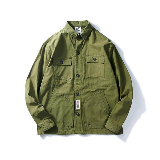 557538379730_绿色 秋冬新款多口袋衬衣潮流青年日系工装男式长袖翻领衬衫