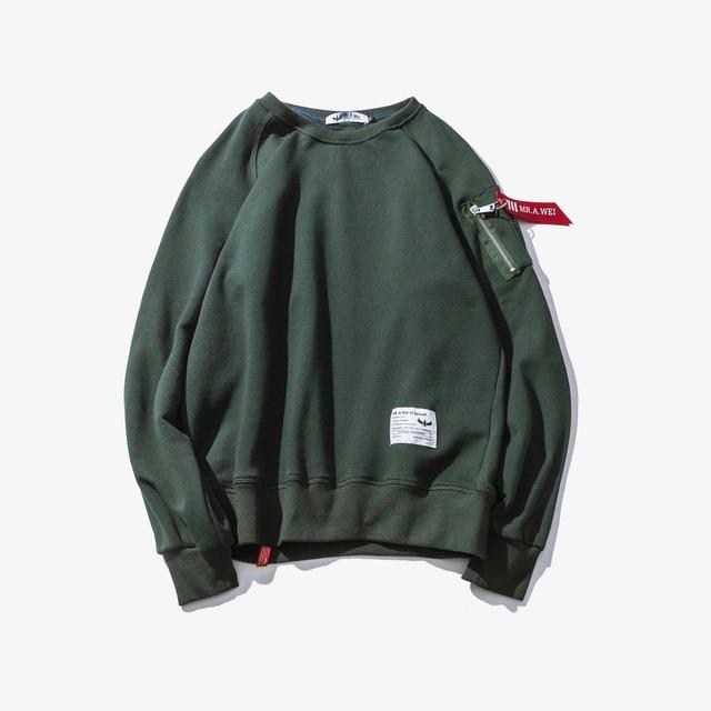 556151582424_绿色 日系原创纯色MA-1青年秋季外套卫衣