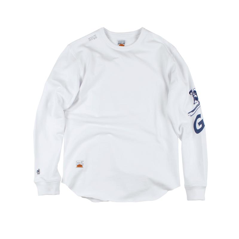 ANB2018秋冬/白色GOODJOB印花长袖水洗薄卫衣白色