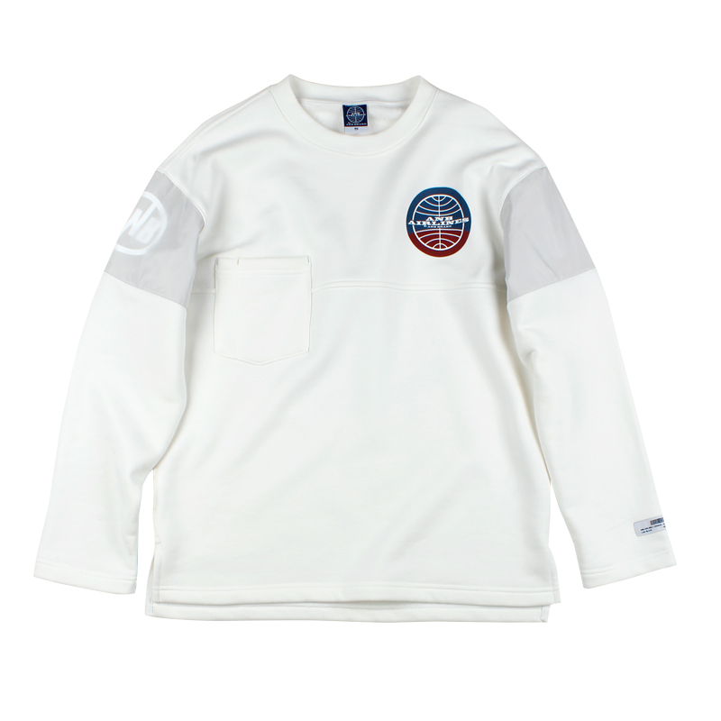 581342163236_乳白色 ANB 乳白色ANB-AIR 航空实验室拼接抓绒薄卫衣