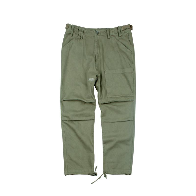 581879938928_军绿色 ANB2018秋冬/GOODJOB水洗人字纹八分工装裤军绿色