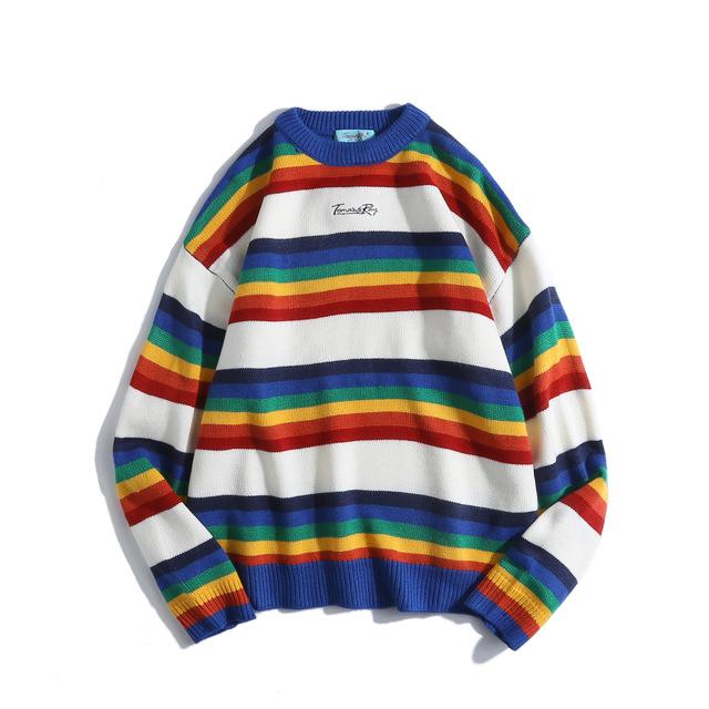 581617754218_蓝色 原创日系男装2018新品男士毛衣撞色针织衫彩虹条纹ins