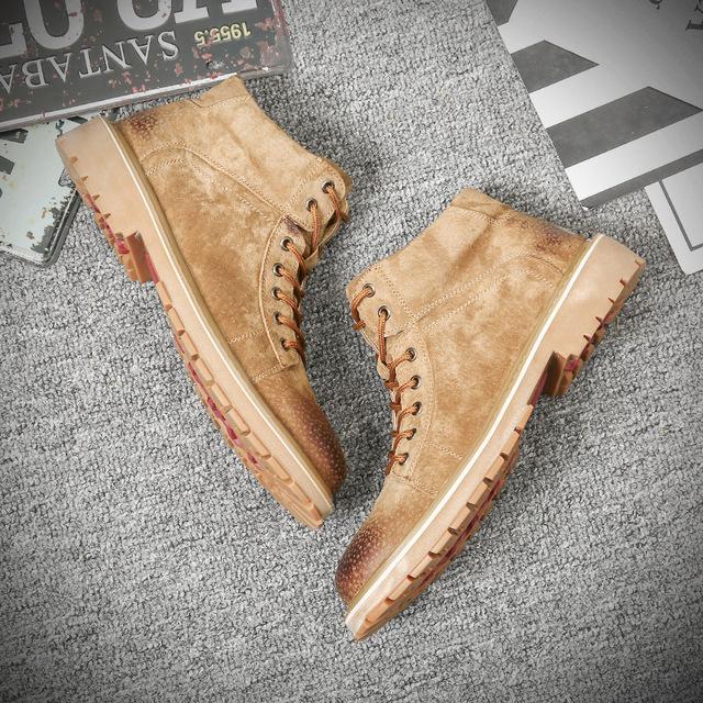 559608085648_19988沙黄 真皮冬季韩版马丁靴 男潮新款加绒保暖棉鞋英伦中高帮