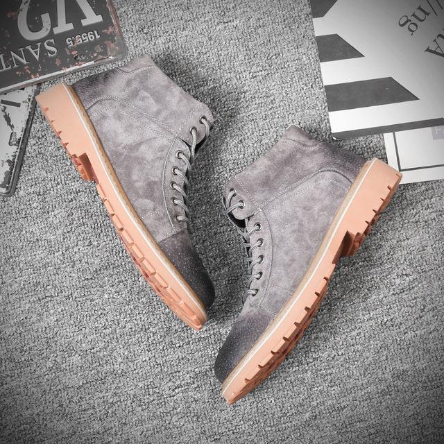 559608085648_19988灰色 真皮冬季韩版马丁靴 男潮新款加绒保暖棉鞋英伦中高帮