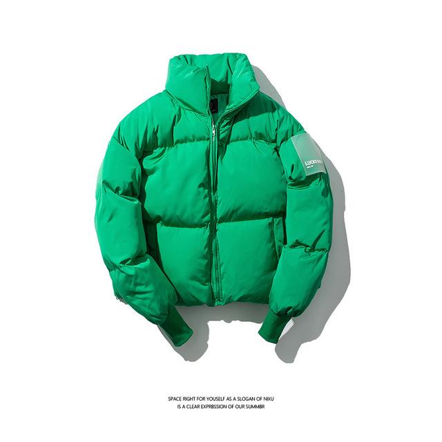 583976848765_绿色 原创冬季立领面包服棉衣青年男式宽松潮牌保暖纯色棉衣