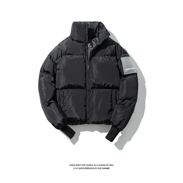 583976848765_黑色 原创冬季立领面包服棉衣青年男式宽松潮牌保暖纯色棉衣
