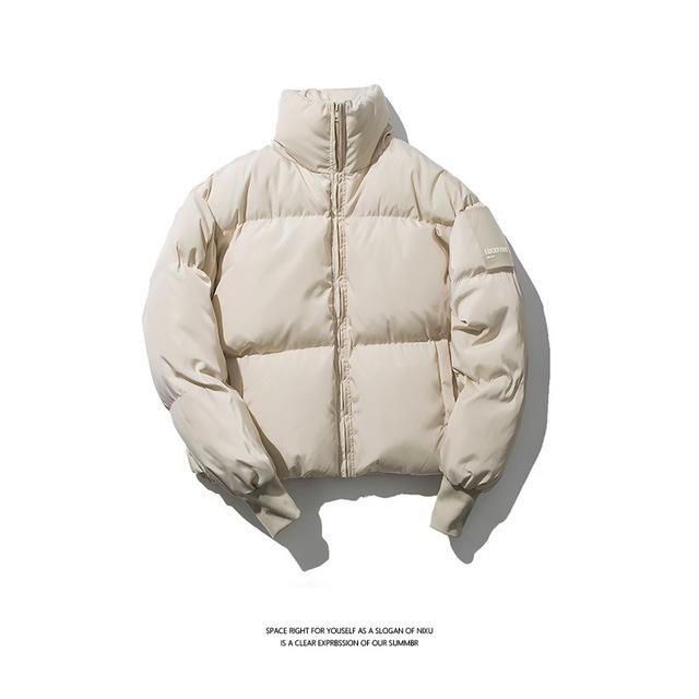 583976848765_米白色 原创冬季立领面包服棉衣青年男式宽松潮牌保暖纯色棉衣