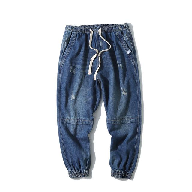 584877414072_深蓝 原创美式休闲宽松水洗磨白牛仔裤 复古做旧纯色百搭小