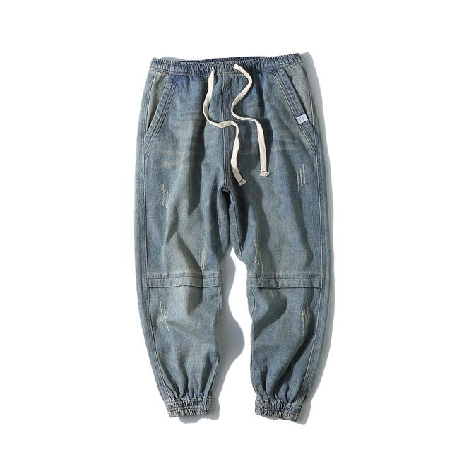 584877414072_浅蓝 原创美式休闲宽松水洗磨白牛仔裤 复古做旧纯色百搭小