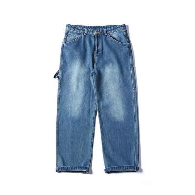 584578084976_蓝色 工装直筒裤复古下装休闲裤男装长裤子春秋款男裤子牛仔