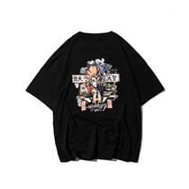 590469908022黑色 2019原创国潮新款夏季日系青年简约卡通印花短袖男T恤T