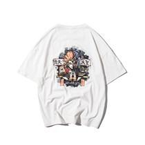 590469908022白色 2019原创国潮新款夏季日系青年简约卡通印花短袖男T恤