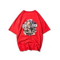 590469908022红色 2019原创国潮新款夏季日系青年简约卡通印花短袖男T恤