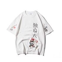 590835742980白色 日系学生夏季半袖t独身犬小清新卡通狗印花短袖