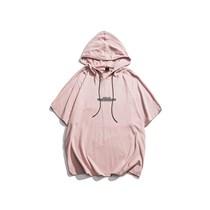 590798001580粉色 原创男士连帽短袖T恤夏季港风潮牌文字印花