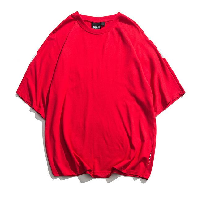 592531246034_红色 日系潮男时尚t恤夏季新款背后字母印花半袖衫宽松ulzza