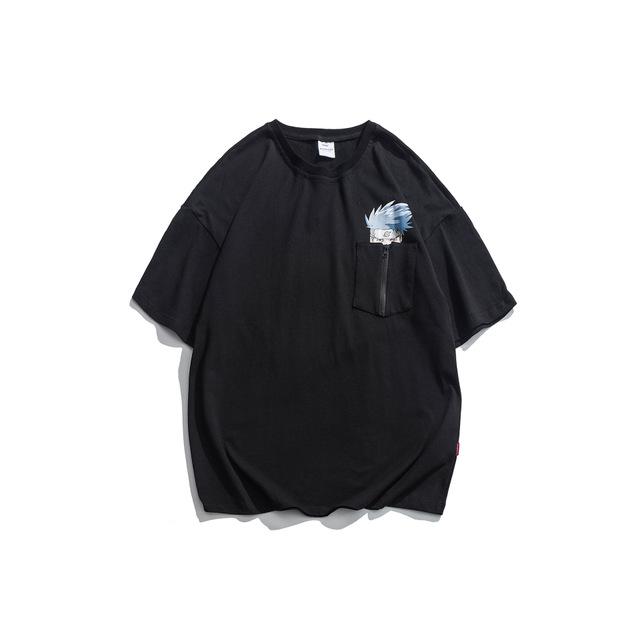 593793308490_黑色 夏季新款火影印花短袖t恤男卡通漫画图案ins街头潮流日