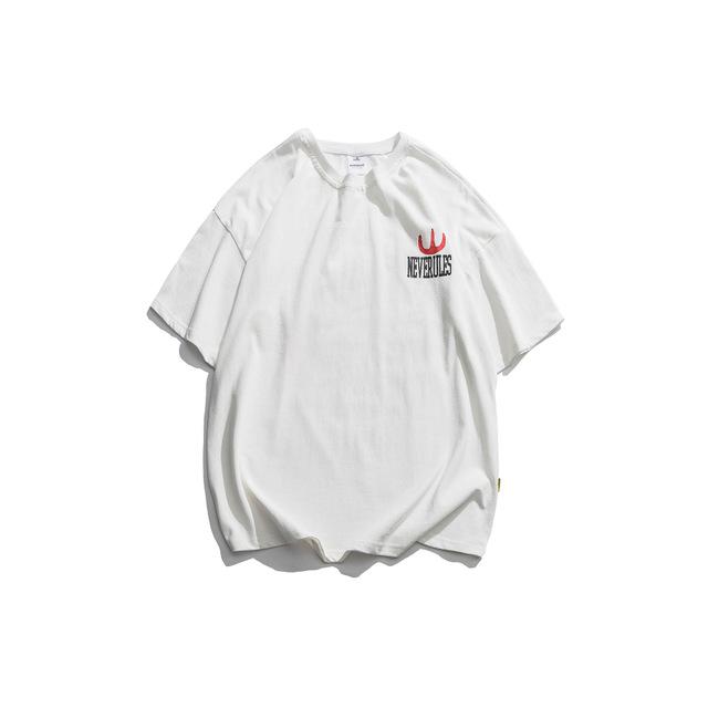 593789948260_白色 2019夏短袖T恤男潮牌日系街头宽松卡通动漫图案印花休