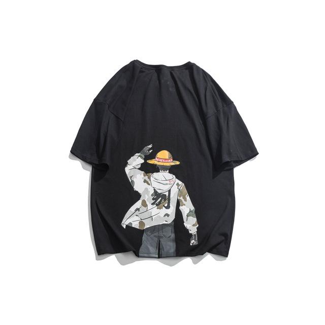 593048819074_黑色 日系动漫印花短袖T恤男夏季新款休闲宽松体恤潮流情侣