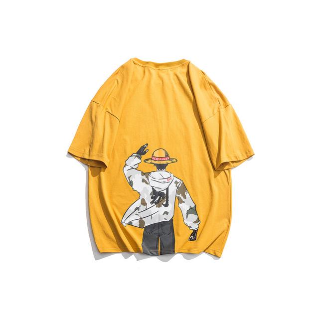 593048819074_黄色 日系动漫印花短袖T恤男夏季新款休闲宽松体恤潮流情侣