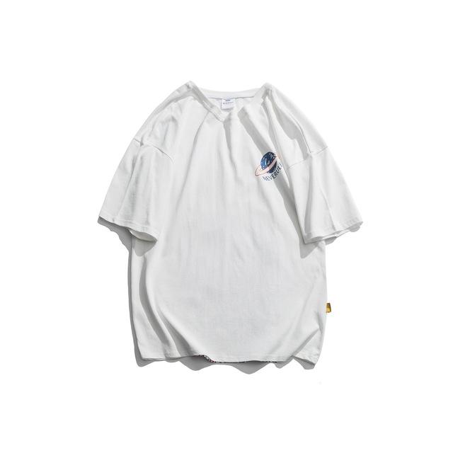 594013997970_白色 2019新款夏季男士日系复古卡通印花圆领短袖T恤宽松圆