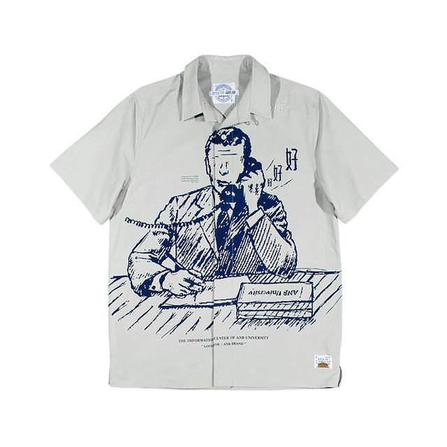 596625853084_浅灰 ANB2019SS / GOODJOB 教务主任满版印花短袖衬衫(浅灰