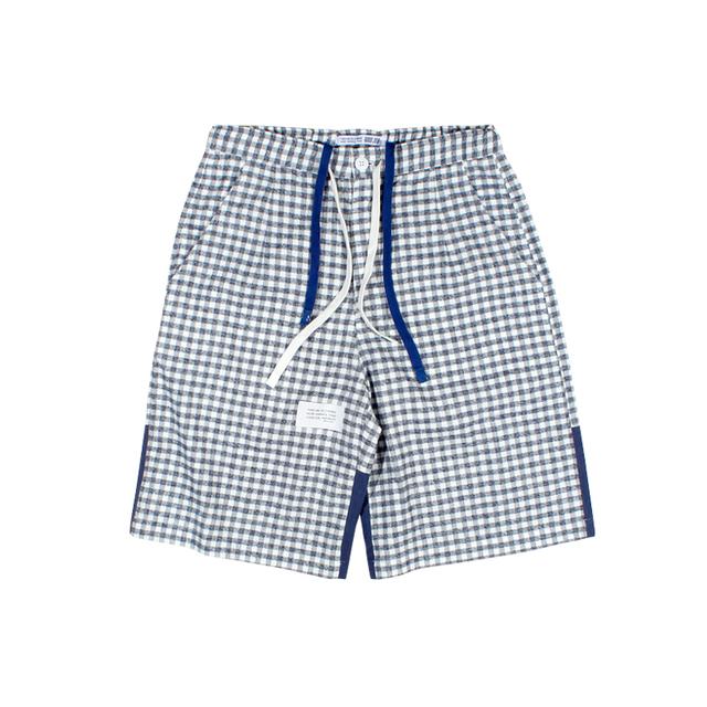 596395616243_格子 ANB2019SS / GOODJOB 睡裤款拼接格子短裤格子