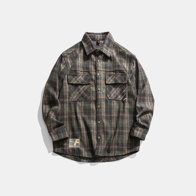 605492810134_黑色 2019冬季新款男士格子衬衫加厚日系外套工装宽松