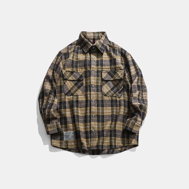 605492810134_黄色 2019冬季新款男士格子衬衫加厚日系外套工装宽松