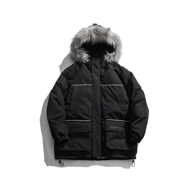 605275785024_黑色 2019冬季新款男士棉衣连帽中长款日系休闲工装毛领