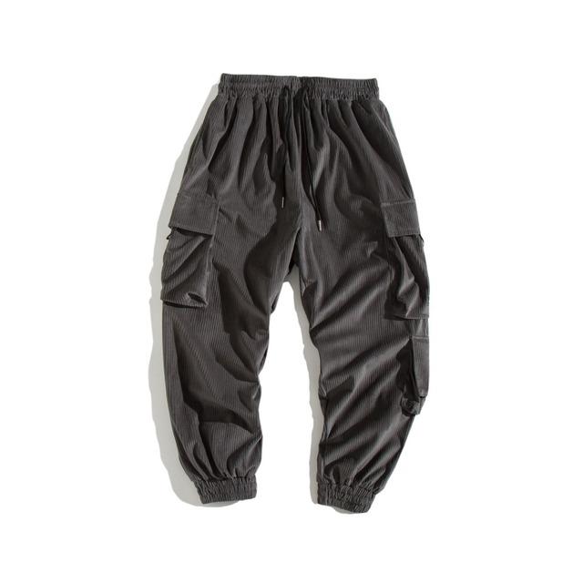 606707835236_灰色 日系秋冬多口袋水洗工装束脚裤男 青年宽松纯色休闲收